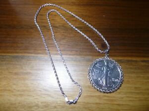 """1991 1oz 999 fine Silver Eagle in sterling bezel with 24"""" Sterling Rope Chain"""