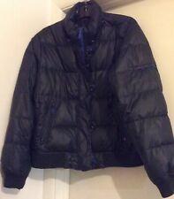 Gap Women's XXL Black Winter Puffer Parka Jacket Down/Feather  Coat W/ Blue Trim