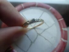 .06 cts 14 kt Yellow Gold + Platinum Unusual Old Diamond Ring Size 7