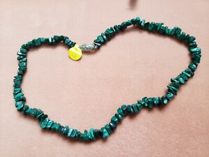 """Hand- Made GENUINE * MALACHITE * NECKLACE 16"""" Long - Made in USA"""