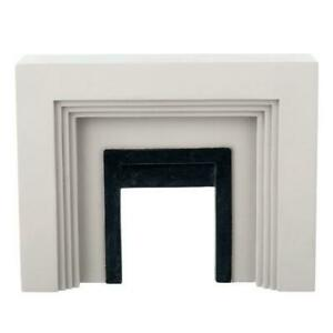 Dolls House Dark Grey Resin Art Deco Fireplace Miniature 1:12 Scale Furniture