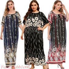 Plus Size Muslim Women Maxi Dress Floral Print Abaya Holiday Gown Islam Clothing