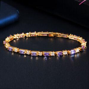 CWWZircons Yellow Gold CZ Green Blue Charm Tennis Bracelets for Wedding Party