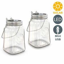 2x LED Solar-Licht-Glas Sonnen-Leuchte Laterne Dekolampe Gartentisch Beleuchtung