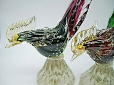 PAIR LARGE vintage Murano label Seguso gold bullicante sommerso glass pheasants