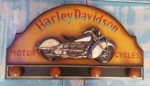 Vintage Harley Davidson Wooden Advertising Wall Hanger Hand Painted 3D SKU190331