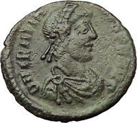 Gratian 367AD  Ancient Roman Coin Cross ROMA w globe & spear i29839