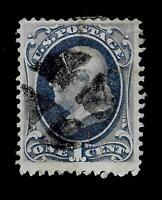 US  1870 Sc# 145 1 cent  Franklin Used*  -  Cork Cancel - Crisp Color - Centered