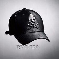 ByTheR Solid Black Faux Leather Embossed Skull Front Strap-back Baseball Cap Hat
