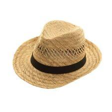 Stroh Fedora Hut S 57cm schwarzes Band Filzhut Panama Fest Strandurlaub