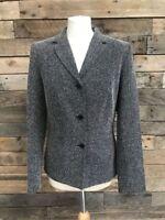 GEORGE Ladies Black White Speck Blazer Jacket Size UK 10 Work Office
