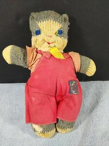 "Vintage Mrs Ryans Knitted Toys Boy Cat Kitten Red Overalls Repair 9.5"""