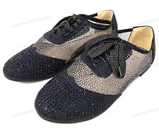 Women's Oxfords Rhinestones Lace Up Mesh Detail Lace Flats Casual Bootie Shoes