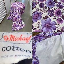 🌟Vintage Retro Pair Of St Michael Purple Floral Long Curtains Fabric Lined
