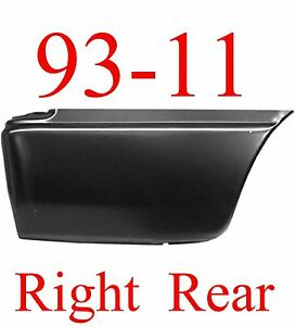 93 11 RIGHT Lower Rear Bed Patch, Ford Ranger, 2 Door, Extended Cab, Crew Cab