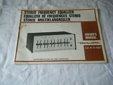 Vintage Owners Manual, Realistic Stereo Frequency Equalizer, Cat no. 31-1987
