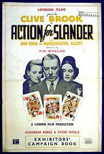 ACTION FOR SLANDER 1937 Clive Brook, Ann Todd, Margaretta Scott UK PRESSBOOK