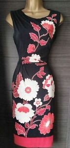 Phase Eight Black Red Oriental Floral Jersey Stretch Dress UK 12 EU 40 US 8