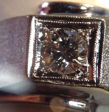 Stunning Men's Vintage 14K White Gold Diamond Ring 0.45 Carat