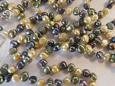 """Jewelry Necklace Pearl Genuine Freshwater 56"""" 5-6mm Lt Yellow Green Peacock Brow"""