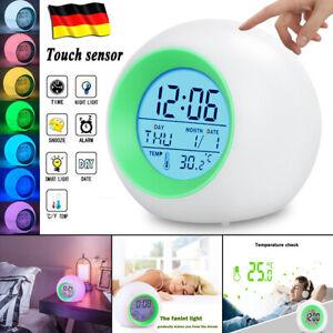 Digitaler Wecker LED Farbwechsel Wecker Digitaluhr Funk Wecker Kinder Nachtlicht