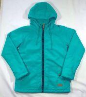Women's Billabong Teal Green Fleece Lined Hooded Coat Jacket-Size M
