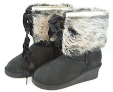 Koolaburra Chestnut Black Boots By UGG Size 5 US Women's Sheep Skin and Real Fur