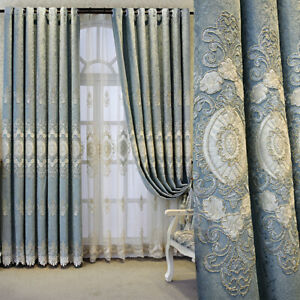 Thermal Blackout Curtains Chenille Embroidery Drape Bay Window Treatment