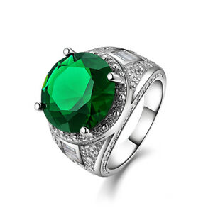 Womens Mens Size 7,8,9,10 Dazzling Green Emerald 18K Gold Filled Wedding Rings