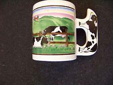 Cows in pasture ceramic mug coffee cup cow handle