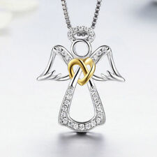 Guardian Angel 14K Gold Heart .925 Sterling Silver Women Pendant Necklace Chain