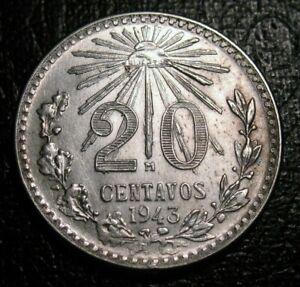 1940-1943 Mexico Cap /& Ray .720 Silver 20 Centavos Random Picked Yrs Coin