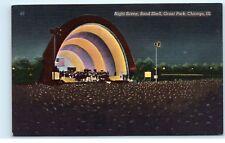 *Night Scene Band Shell Grant Park Concerts Chicago Illinois Postcard B42
