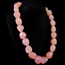 Gorgeous Faceted 1310.00 Cts Natural Pink Rose Quartz Untreated Beads Necklace
