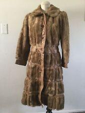 Vintage 1970's Faux Fur & Leather Jacket 2 Piece Trench Coat Brown S/M 2 pc.