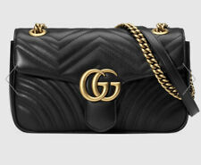 GUCCI GG Marmont Small Matelasse Leather Shoulder Bag Black NEW