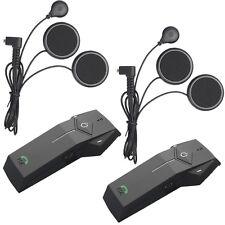2x BT Motorcycle Bluetooth Intercom Helmet Interphone Headset 1000M+FM Radio+NFC