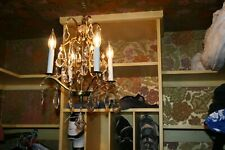 Chandelier 4 arm vintage brass crystal mid century rare french glass drops