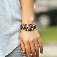New Black Leather Adjustable Faith Bracelet Handmade Jewelry Cuff Women/Men`s 1X