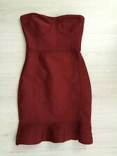PRETTY LITTLE THING BURGUNDY SPECIAL OCCASION BODYCON FRILL HEM DRESS SIZE 4