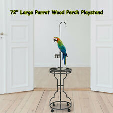 """72"""" Large Parrot Wood Perch Playstand, Bird Stand with Stainless Steel Tray Bowl"""