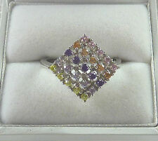 Multicolour Cubic Zirconia Rhodium White Gold Plated 925 Sterling Silver Ring
