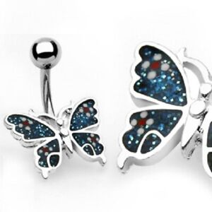 Butterfly Belly Button Ring Pierced Navel CZ Paved Surgical Steel Piercing