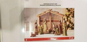 Baroque Nativity Set 12 Pc Ceramic Original Packaging