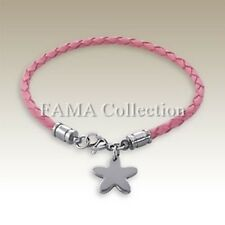 Top Quality FAMA Pink Leather Corded Bracelet with Hanging Star Flower Charm