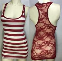 NEW SIZE SMALL BURGANDY HOT FLORAL LACE FISHNET BACK TANK TOP SEXY WOMENS SHIRT