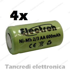 4x 2/3AA 1,2V 600mAh batteria Ni-Mh NiMh ricaricabile pila rechargeable battery