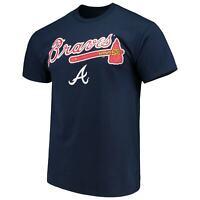 Men's Majestic Navy Atlanta Braves Bigger Series Sweep T-Shirt