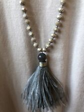 Envy Ladies Designer Feather Necklace, Taupe - New with Tags