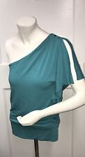 WHITE HOUSE BLACK MARKET Blouse Top XS 1 Shoulder Insignia Buttons Teal GREEN